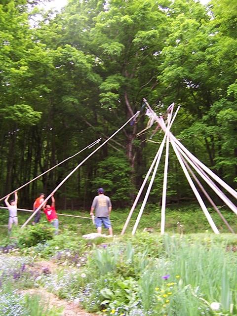Putting up poles